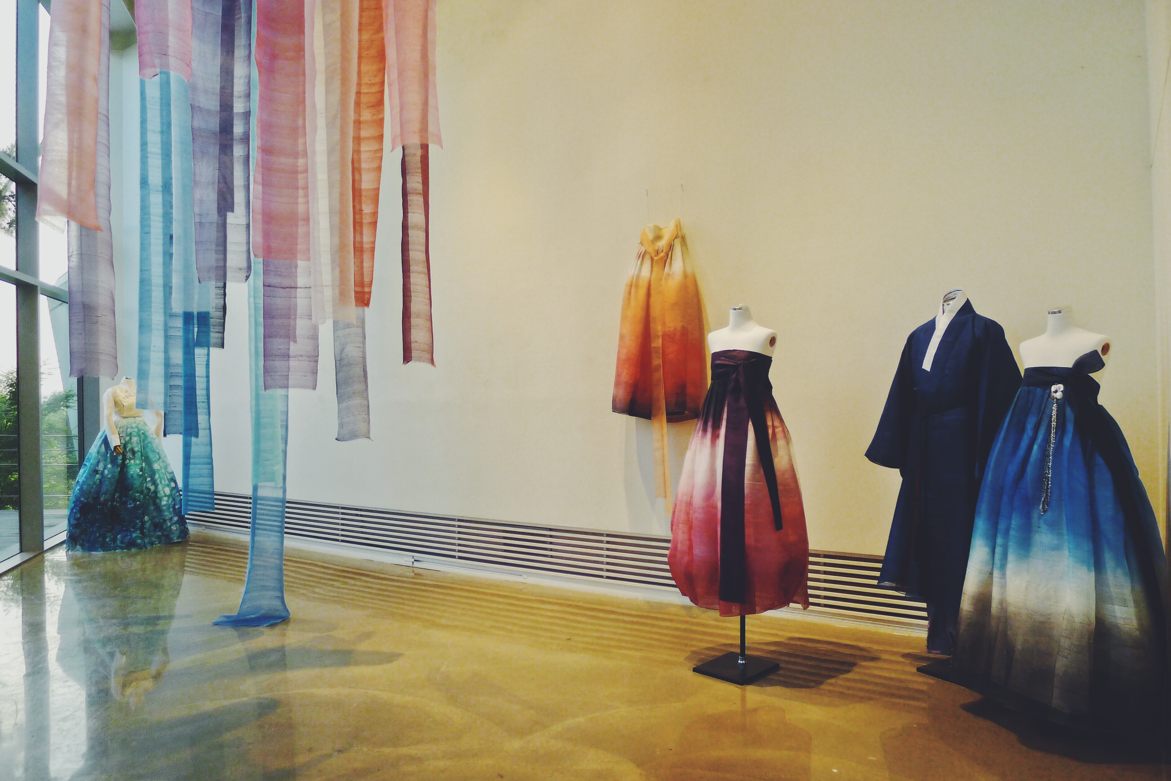 An ornamental display of traditional Korean hanbok designed by Go So-mi